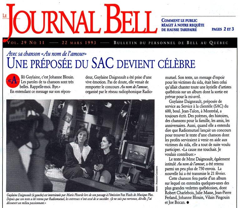 Article du Journal Bell relatant une entrevue avec l'auteur, parolière et romancière au sujet de san chanson pour le sida, Au nom de l'amour