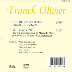 Une heure du matin de Franck Olivier